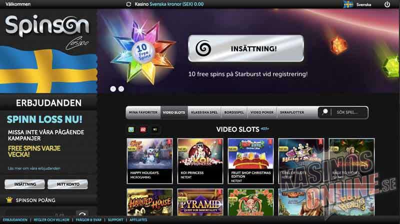 online kasino spinson screenshot